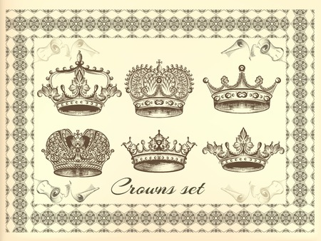 Set of vector hand drawn crowns in engraved style Illustration
