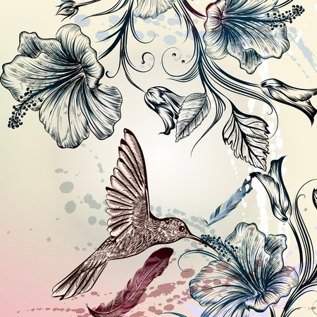 Floral illustration in vintage style with hummingbird and hibiscus flowers