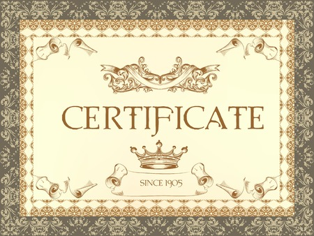 calligraphic design: Luxury vector certificate  in classic style