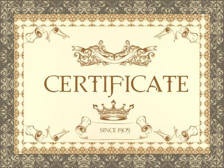calligraphic design: Luxury vector certificate  in classic style