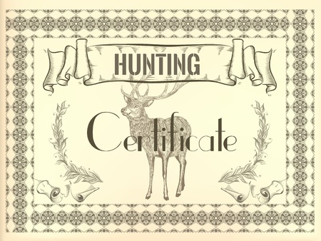 hunting: Hunting certificate design in vintage style with deer