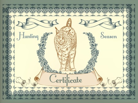 lynx: Hunting certificate design in vintage style with lynx Illustration