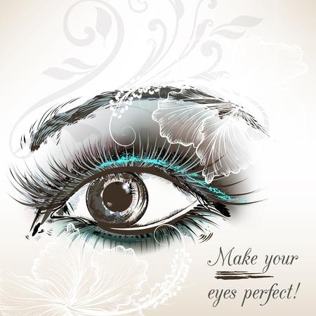 make up eyes: Beautiful female eye with make up hand painted vector illustration Illustration