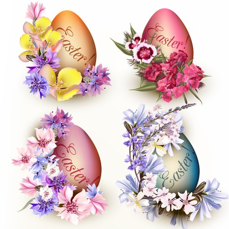nostalgia: Collection of Easter eggs decorated by flowers