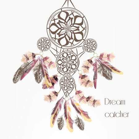 american dream: Fashion vector background with dream catcher from feathers