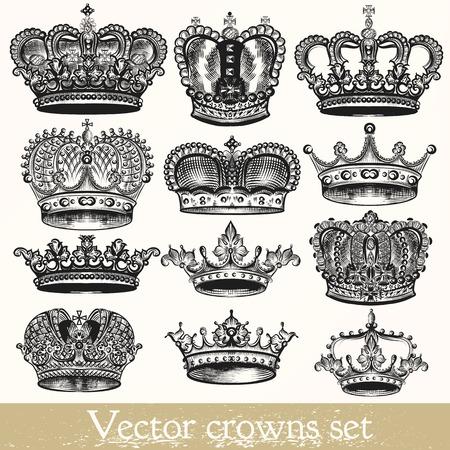 corona real: Colección de vectores dibujados a mano de coronas en el estilo vintage Vectores