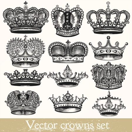 Collection of vector hand drawn crowns in vintage style