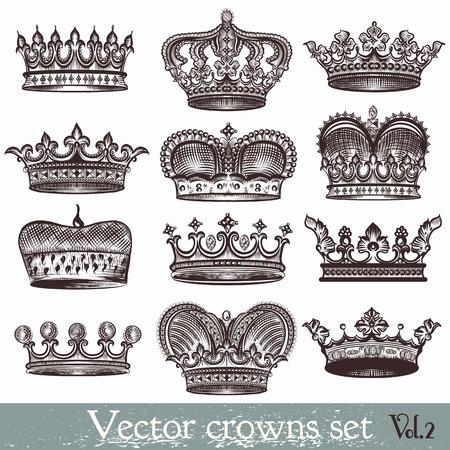 ビンテージ スタイルのベクトル紋章冠のコレクション  イラスト・ベクター素材