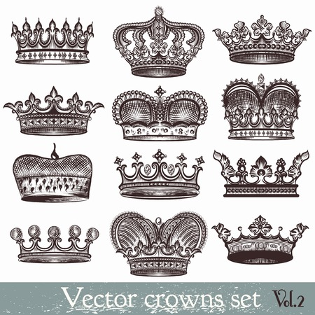 Collection of vector heraldic crowns in vintage style