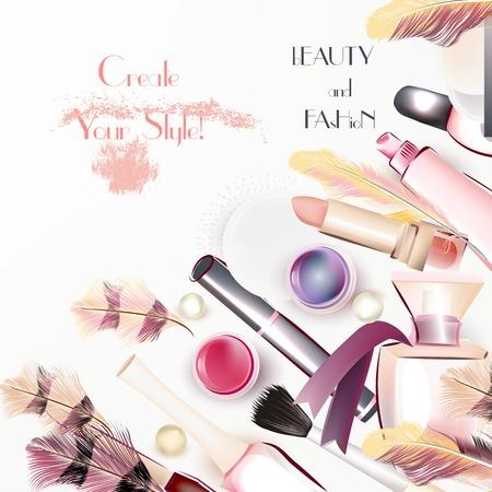 productos de belleza: Fondo del vector de la manera con la cosmética y plumas crear su estilo Vectores
