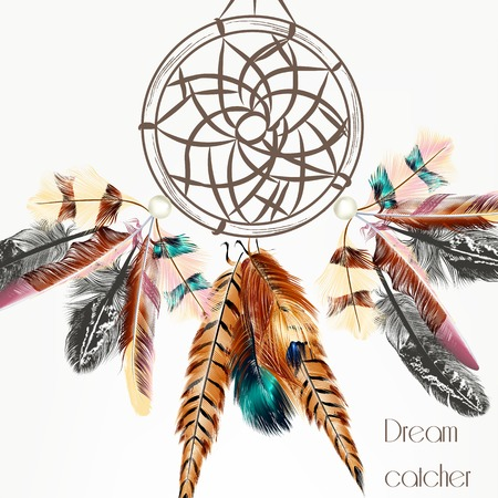 indian feather: Fashion vector background with dream catcher from colorful feathers