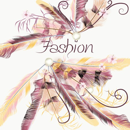 fashion background: Fashion vector background with pink feathers