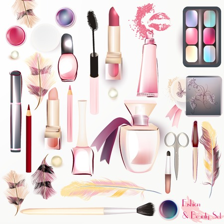 beauty products: Beauty set from vector watercolor cosmetics make up artists objects lipstick, nail, perfumes, eye shadows