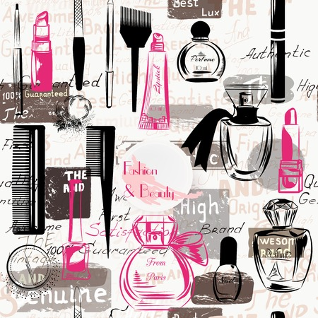 fashion illustration: Beauty and fashion seamless pattern from silhouettes of cosmetics make up artists objects lipstick, nail, perfumes grunge style