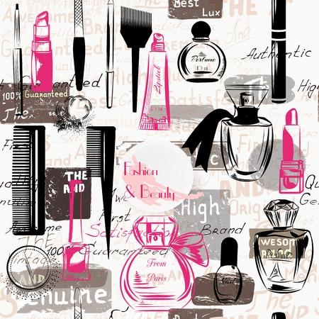 lipstick: Belleza y Moda patrón transparente de siluetas de cosméticos componen artistas objetos lápiz de labios, uñas, estilo grunge perfumes Vectores