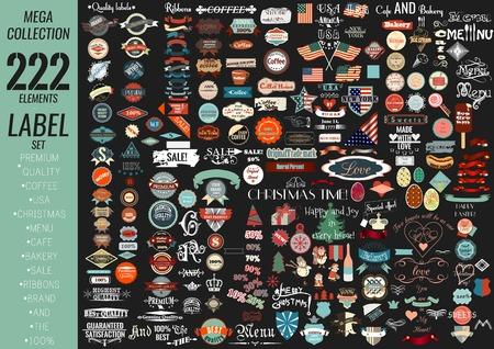 Etiquetas de la colección Mega establecen las primas de calidad, cafetería, panadería, venta, navidad, y, café, EE.UU., cintas y otros Vectores