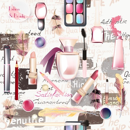 merchandise: Beauty and fashion seamless pattern from vector watercolor cosmetics make up artists objects lipstick, nail, perfumes, eye shadows grunge style