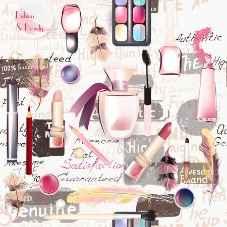 lipstick: Belleza y moda modelo inconsútil de los cosméticos acuarela vector conforman artistas objetos lápiz de labios, uñas, perfumes, las sombras de ojos grunge estilo Vectores
