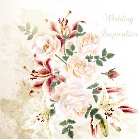 flor de lis: Grunge ilustraci�n con hermosas rosas y flores de lirio de la boda o aniversario fondo Vectores