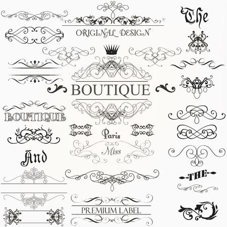 navidad elegante: Conjunto de elementos de decoraciones de época prospera fronteras adornos caligráficos y marcos de estilo retro Vectores