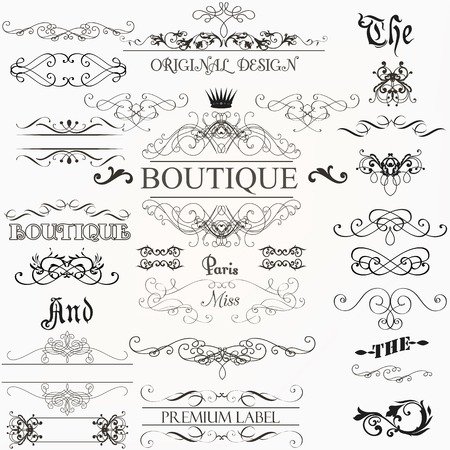 elegant christmas: Set of vintage decorations elements flourishes calligraphic ornaments borders and frames retro style