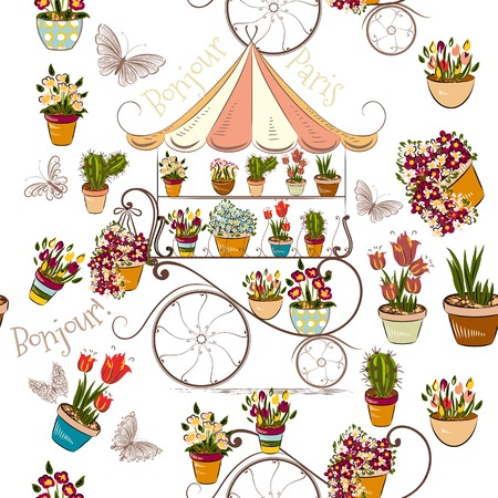 potter: Seamless pattern with flower shop or boutique fully of flowers