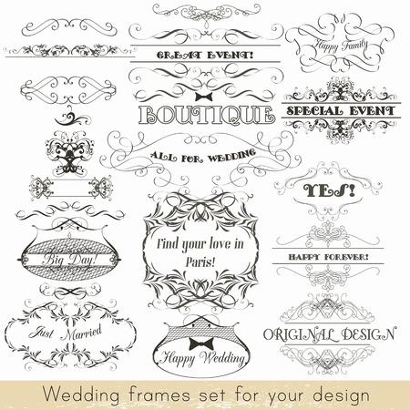 marcos decorativos: Colección de vectores de marcos decorativos para el diseño de las invitaciones de boda