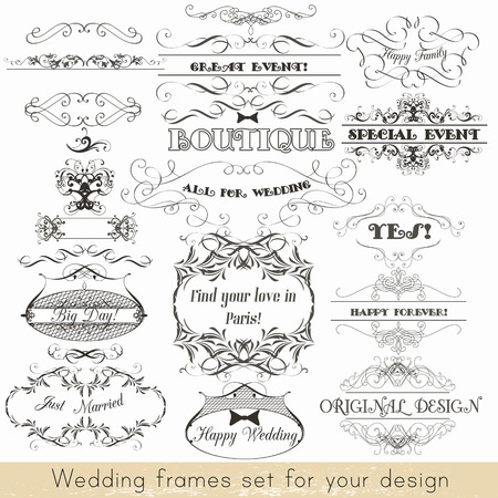 Collection of vector decorative frames for wedding invitations design Çizim