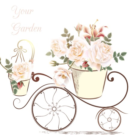 beautiful anniversary: Cute illustration with rose flowers in a potter your garden