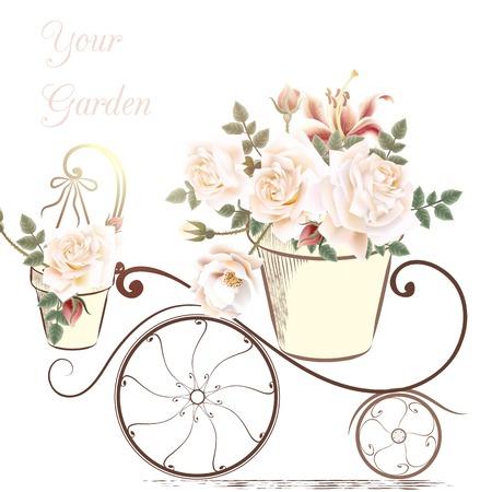 Ilustración linda con flores color de rosa en un alfarero su jardín