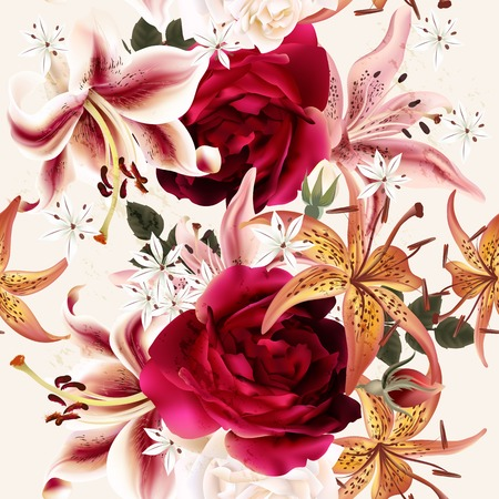 flower rose: Seamless floral pattern with roses in watercolor style vector illustration