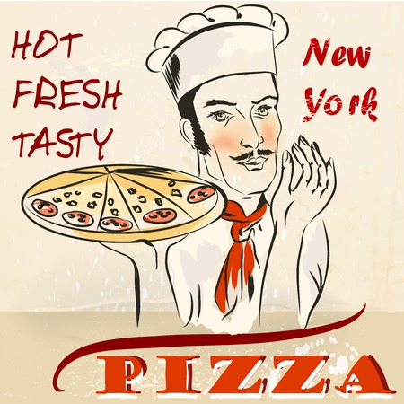 advertizing: Advertizing pizza poster with waiter or cook holding hot fresh New York pizza retro style Illustration