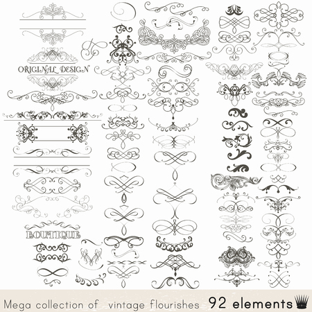 Collection of vector calligraphic elements and page decorations Ilustracja
