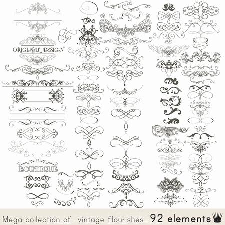 elemento: Raccolta di vettore elementi calligrafici e decorazioni di pagina