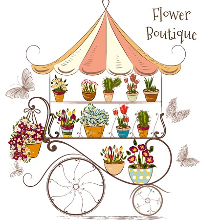 Cute illustration with flower shop or boutique fully of flowers in different potters