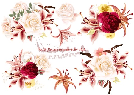 Collection of  beautiful vector rose  flowers in watercolor style