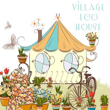 cute house: Cute vector illustration with little village house and garden above eco house conceptual illustration