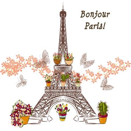 cartoline vittoriane: Illustrazione carino con fiore Torre Eiffel e ceramisti completamente di fiori. Banner o carta Boutique