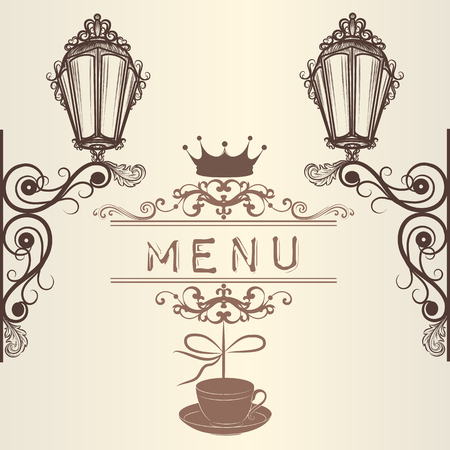 classic style: Elegant menu design for cafe with lamps