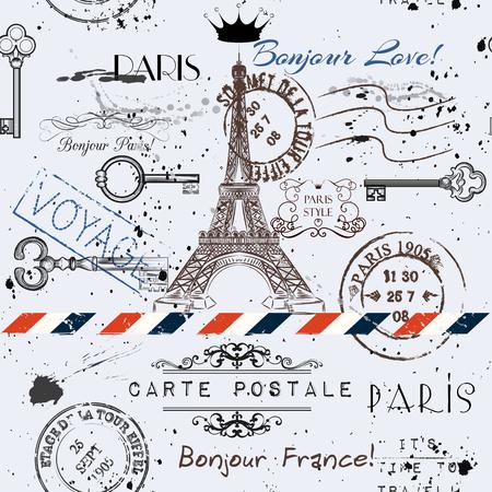 torre: Vector de fondo sin fisuras con la flor de la torre Eiffel y post sellos imitación de la postal del vintage en el estilo grunge