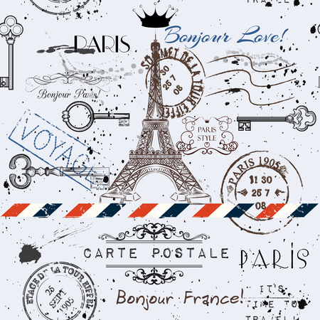 bonjour: Vector seamless background with flower Eiffel tower and post stamps imitation of vintage postcard in grunge style Illustration