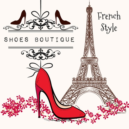 french style: Advertising  illustration shoes boutique red shoe hang on a banner, Eiffel tower on a second plan French style