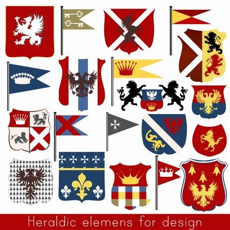 nobel: Conjunto de vector de elementos her�ldicos escudos, flor de lis, banderas, coronas y otros