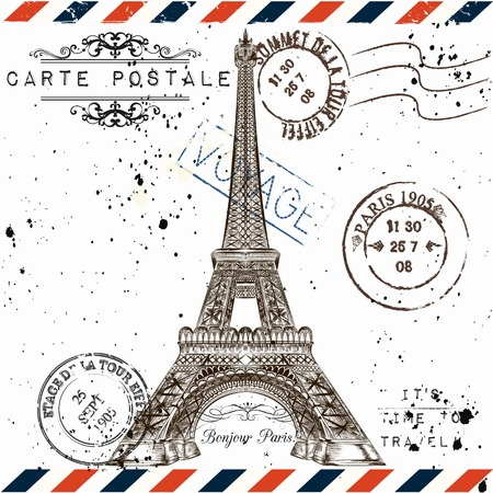 vocation: Bonjour Paris. Imitation of vintage post card with Eiffel tower and post stamps Paris, voyage travel vocation theme grunge style