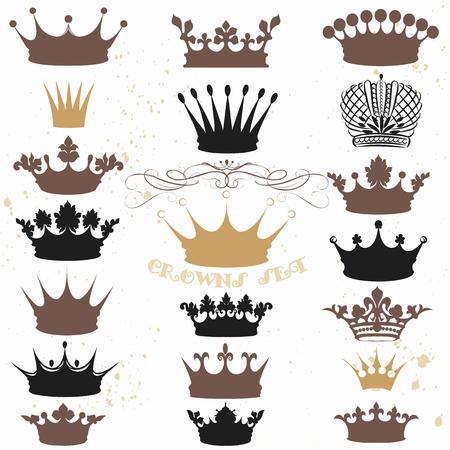 Une collection de couronnes vecteur silhouettes dans le style vintage. Idéal pour héraldiques, étiquettes, menus, logos royaux et d'autres projets