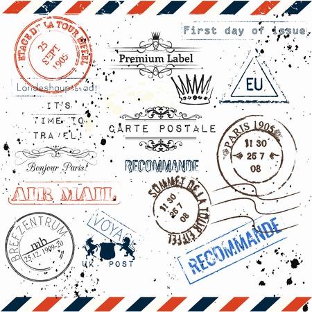 Collection of vector imitation de timbres postale vintage de Paris, Voyage de voyage vocation thème style grunge