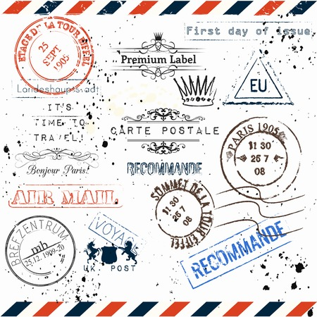 bonjour: Collection of vector imitation of vintage post stamps Paris, voyage travel vocation theme grunge style Illustration
