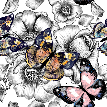 Floral seamless wallpaper pattern with engraved hand drawn flowers and colorful butterflies