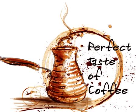 Kawa wektor Plakat ilustracja z ekspresem do kawy namalowany przez drukowanie z kubkiem spoty ciepły kolor sepii idealne dla etykiet kawiarni Ilustracje wektorowe