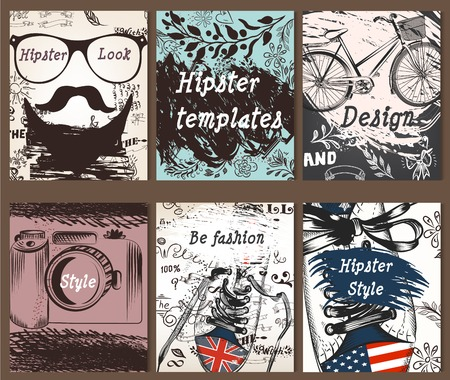hipster: Set of vintage creative cards with hand sketched hipster textures from hipster must have things for design